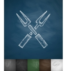 forks icon Hand drawn vector image vector image