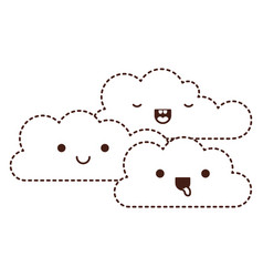 Kawaii cumulus clouds icon fla in monochrome vector