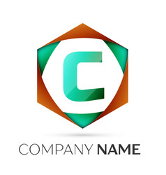 letter c symbol in the colorful hexagonal vector image vector image