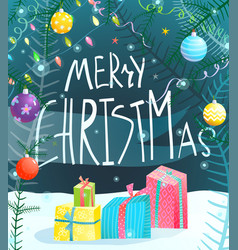 Merry christmas hand drawn sign greeting card vector