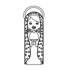 Monochrome contour of beautiful virgin of vector