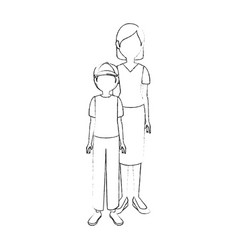 mother son cartoon vector image