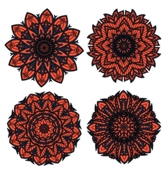 Orange and black circular floral patterns vector image