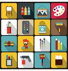 Painting icons set flat style vector image