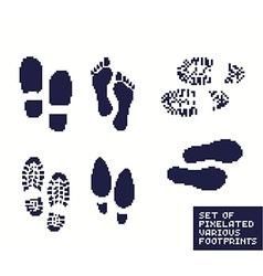 Pixel footprints vector image