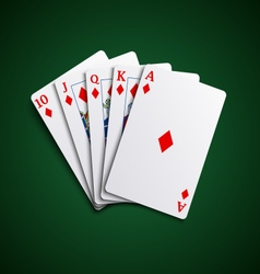 Poker cards flush diamonds hand vector