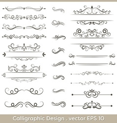 Set of calligraphic vintage ornaments with dashes vector image vector image