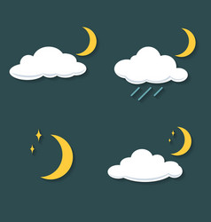Set of clouds with rain moon stars at night icon vector