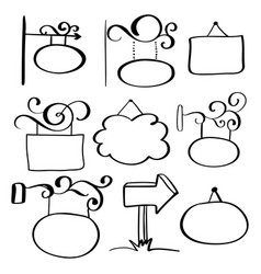 set of hand-drawn doodle signboards on a white vector image