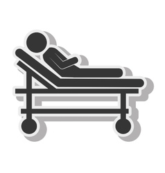 silhouette sick stretcher medical care design vector image vector image