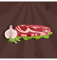 steak house with meat and garlic vector image vector image