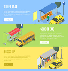 Taxi and school bus station isometric 3d posters vector