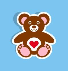 Teddy bear icon with heart vector image vector image