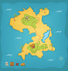 treasure island and pirate map vector image vector image