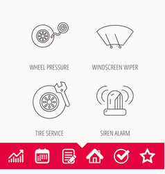 wheel pressure tire service and siren alarm vector image vector image