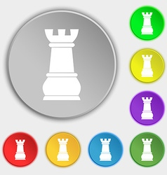Chess rook icon sign symbol on eight flat buttons vector