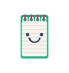 Open block note primitive icon with smiley face vector