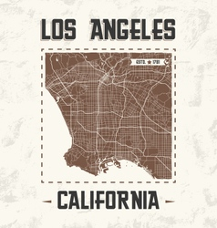 Los angeles vintage t shirt design with city map vector