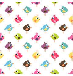 Seamless pattern with cute colorful birds vector