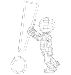 Puppet 3d man with exclamation sign vector