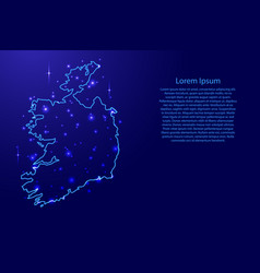 Map ireland from the contours network blue vector