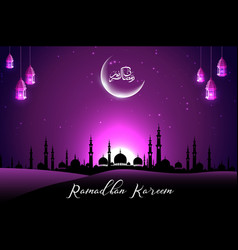 Beautiful mosque with crescent on purple sky vector
