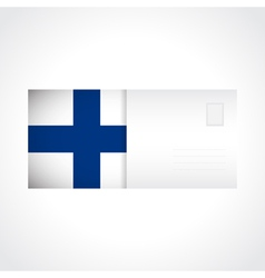Envelope with finnish flag card vector