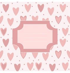 Cute unique post card with pink hearts and dots vector image