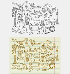 Doodle Monsters Fantasy vector image