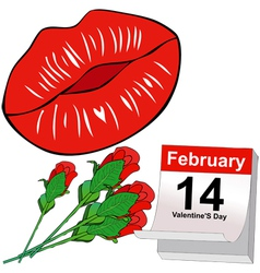 Kisses and red roses for valentines day vector