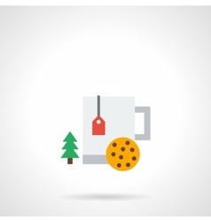 Winter drinks flat color icon vector image