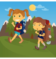 Children with travel backpacks boy and girl scout vector