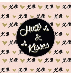 Black hugs and kisses emblem on xo background vector