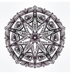 All seeing eye mandala symbol vector