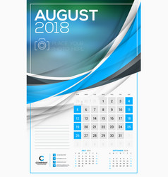 calendar template for 2018 year august design vector image vector image
