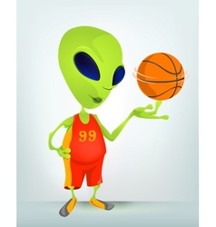 Cartoon alien basketball vector