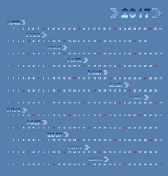 Classic blue 12 months of 2017 calendar vector