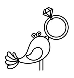 cute dove with diamond ring icon vector image vector image