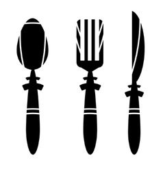 Cutlery - spoon knife and fork - ikons vector image