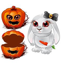 evil white rabbit and halloween pumpkin vector image vector image