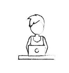 Figure profesional businesswoman with laptop and vector