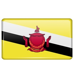 Flags Brunei in the form of a magnet on vector image vector image