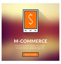 Flat design concept for m-commerce with blu vector