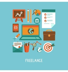 freelance work concept vector image vector image