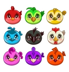 Funny cartoon colorful round birds vector