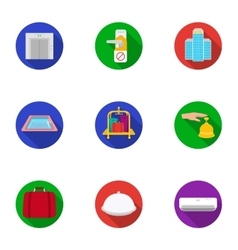 Hotel set icons in flat style big collection of vector