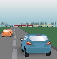 Landscape background road with cars in green vector