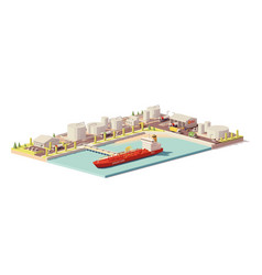 Low poly oil depot and oil tanker ship vector