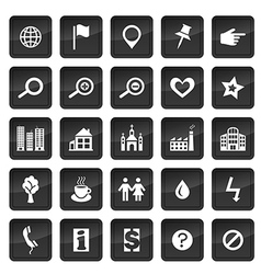 Map icons with dark buttons in background vector image