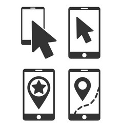 Mobile phone and pointer flat icon set vector